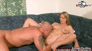 German blond hair girl housewife seduced at casting